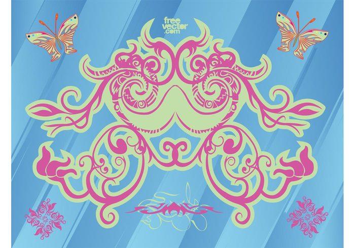 tribal tattoo scroll scribble Plant vectors ornament drawing Design footage decorative decoration corner butterflies beautiful