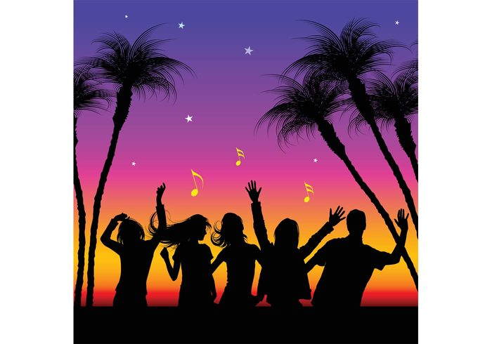 youth young woman tropical silhouette people party Outdoor man male girls girl friend female exotic disco dance crowd celebration celebrate boy