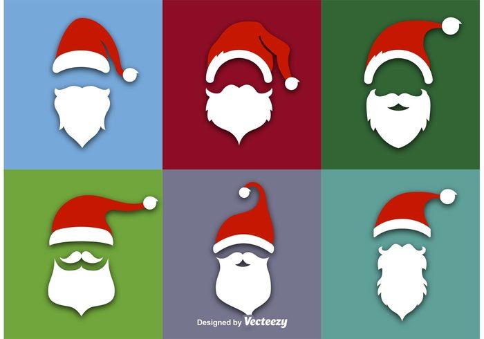 xmas winter silhouette season santas hat santas cap santa claus santa mustache merry holiday hat festive face December Claus christmas celebration cartoon cap beard