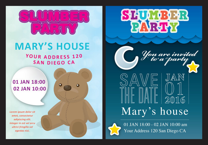 young toy table slumber party invite slumber party invitation slumber party slumber sleepover room pillow party pajama kid girl friends curtain colorful cartoon bed beauty