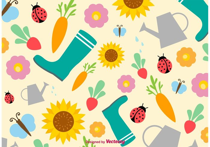 watering pan water can wallpaper veggie vegetables sunflower summer springtime spring seasonal season seamless radish nature March love life ladybug insect gumboots gardening pattern gardening garden wallpaper garden pattern garden background garden flower floral cute cartoon carrot butterfly bug boots April animal