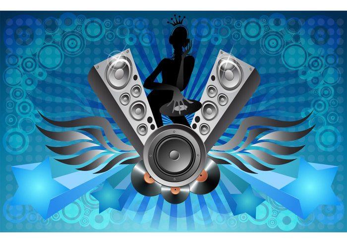 vinyl starburst spinning speakers silhouette records princess party music girl flyer DJ Deejay crown club bar