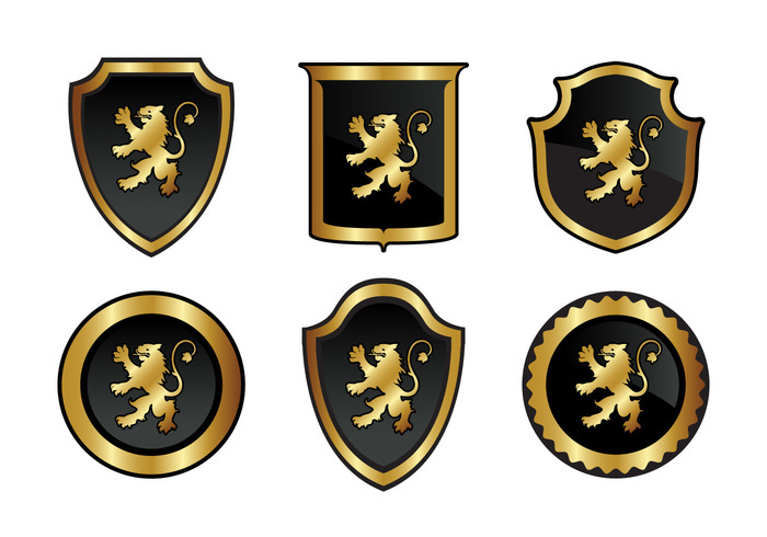 symbol set rampant pack lion rampant lion gold England emblem collection black