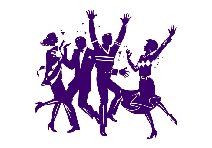 women woman people party new year men man dancers dance confetti celebration celebrate