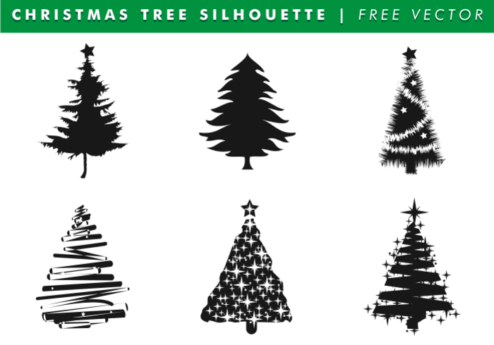 Christmas Tree Silhouettes Free Vector 124953
