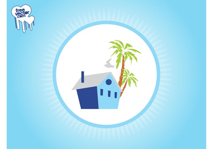 Windows vacation tropical silhouette roof pigeon palms house home holiday exotic dove chimney building bird