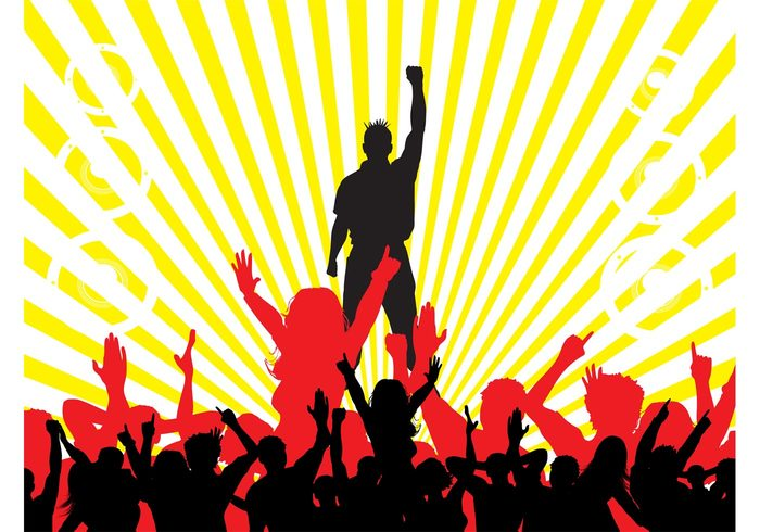 speakers silhouettes silhouette rays Raised fist punk people party music man Liberty spikes dancing dance crowd club