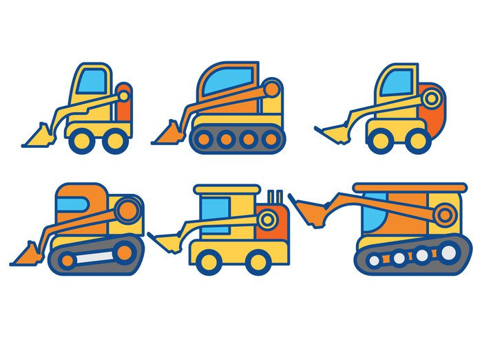 work transport steer small skid silhouette set scoop road Mining machinery machine loader land isolated industry industrial illustration icons heavy forklift excavation construction collection cartoon car building bucket background auto