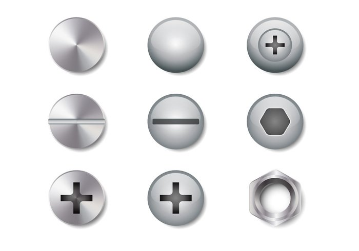 workshop work vector tool symbol Stud steel stainless set screwdriver screw...... rivet nut nail head nail metallic isolated iron illustration icon head hardware gray glossy detailed cross construction circle Chrome bolt background