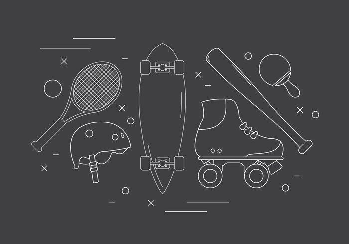 tennis symbol sports sport skateboard set rugby roller blade roller illustration icons icon helmet hand flat elements element collection blade baseball ball background