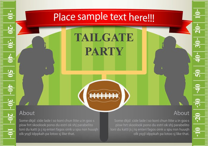 yard Touchdown touch team tailgating tailgate stadium sport sideline rugby poster play party invitation green grass game foodball flyer field endzone collage banners background american