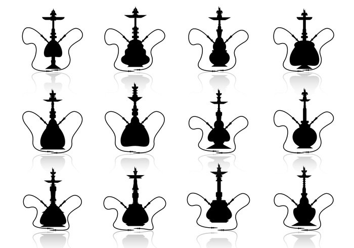 water tube traditional Spice Souvenir smoke silhouette shissha Shisha set Relaxation relax pipe original nargile Marijuana illustration icon hokkah health glass Enjoy design dark culture bar background arab