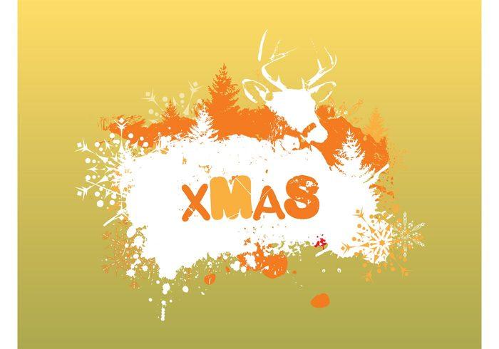 underground tree Spray art splatters snowflake reindeer pine holiday grunge graffiti festive christmas