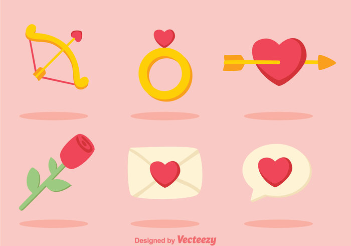 valentine sweet shape rose ring pink message love letter heart flower cupids bow cupid chat cartoon bow