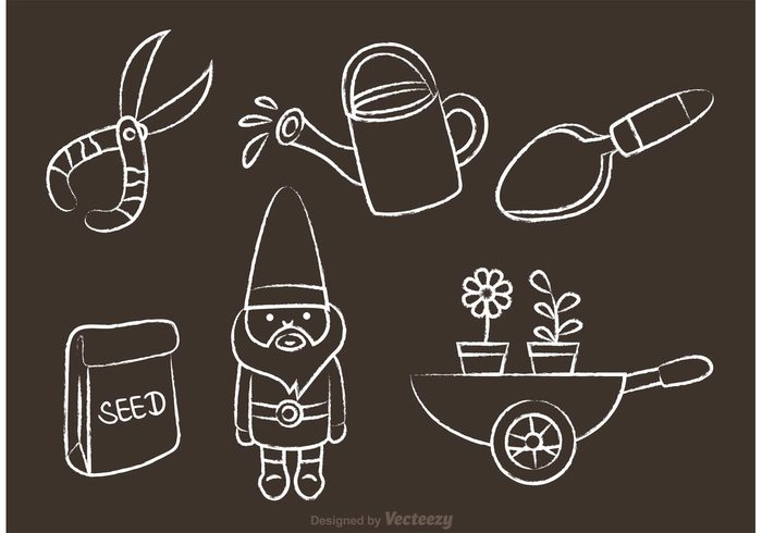 watering can shovel seeds seed packet seed scissor plant harvest gnomes gnome character gnome cartoon gnome gardening garden seed garden icon garden flower environment draw chalk drawn garden chalk drawn chalk