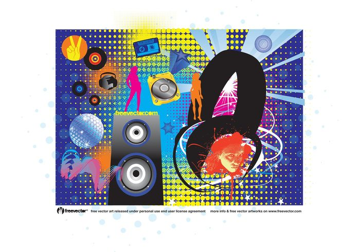 turntable techno party nightlife Music speaker music house headphones Going out girls girl face disco ball dancing dance club bar