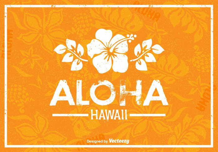vector vacation tropical travel sun summer silhouette sign retro poster polynesian flower Outdoor nature lifestyle leaf illustration Hawaiian hawaii hawai flower floral design background aloha