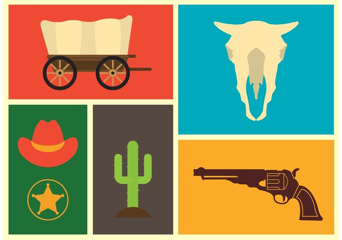 wild west icons wild western west Vintage Style texas sunset summer star skull sherriff sheriff old nature landscape horseshoe horse hat gun gold game desert cowboy covered wagon colorful backgrounds cactus american