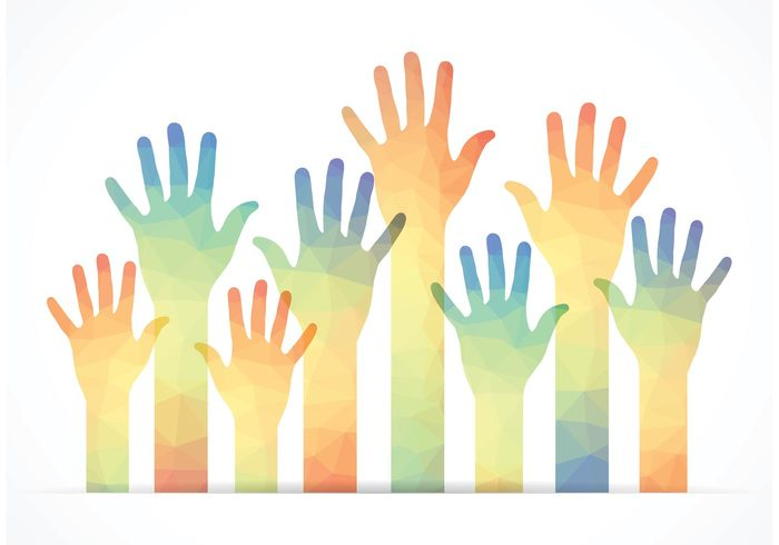 wave volunteer vector upwards up thumb sky silhouette red reach raised polygonal person people party meeting many male love learning joy image illustration Human Helpful help happy hand reaching hand group geometric fun Five fingers female Election education drawing design crowd concept colorful collection children Charity celebration background assistance art arm