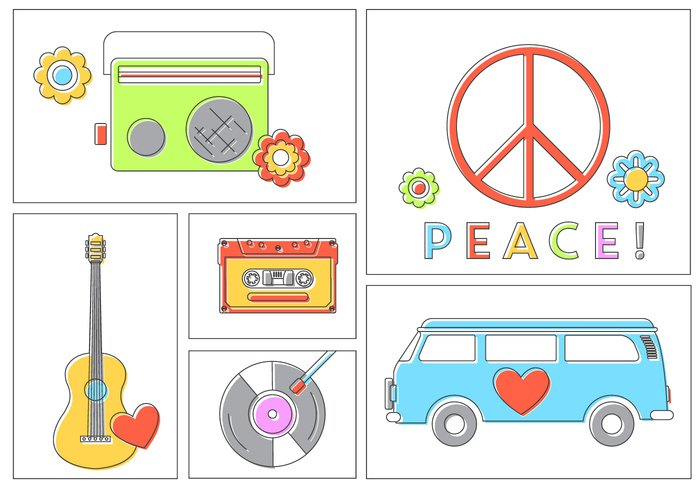 vw camper vintage van travel symbol set retro radio poster peace music isolated infographic illustration icons icon hippie guitar flat color collection background art 70's