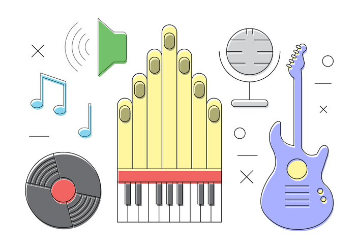 thin text technology sound set rock pipe organ note musical music movie microphone love line isolated infographic icons icon guitar festival event card background art