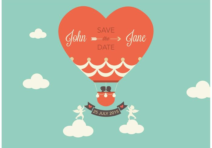 wedding vintage vector template symbol sweet save the date rsvp romantic marry marriage love invitation illustration Hot air balloon Honeymoon heart groom greeting graphic design day date cute cupid creative celebration brown bride bridal beautiful background anniversary