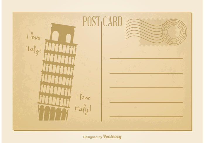 world vintage post card vintage vector typography travel tower tourism symbol stamp sign service retro postcard postal postage Post card post Pisa tower Pisa Paris paper old post card old note nostalgia message mail letter Leaning tower Italy invitation historical grunge greeting frame express element Eiffel Tower Correspondence card blank background aged address
