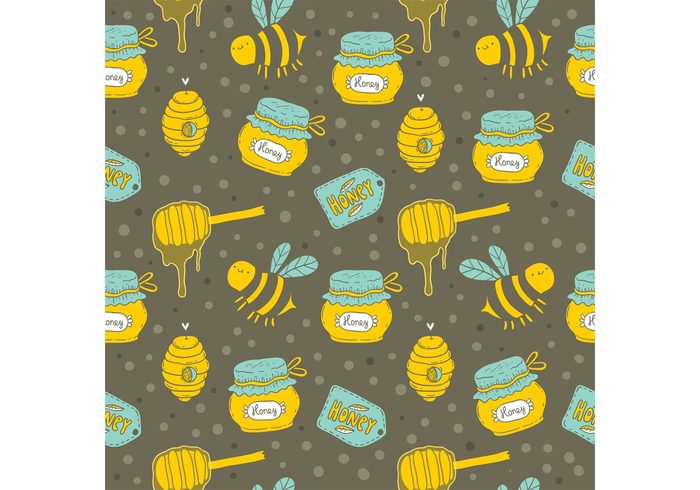 seamless pattern organic natural insect honeycomb honeybee honey pattern honey jar honey drip honey comb honey bee honey food drip dessert cartoon bug bees bee background