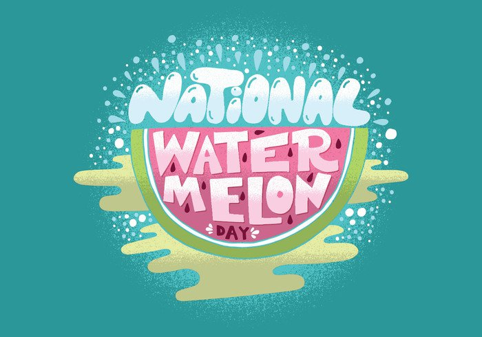 watermelon day watermelon vacation sweet summertime summer slice seeds pink picnic national watermelon day national melon Lettering hand drawn green fruit background aqua