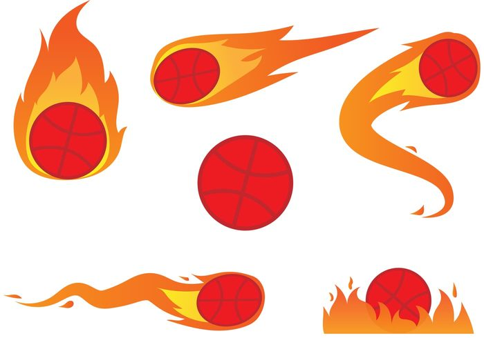 warm sport speed red play orange hot Hobby game flaming flames flame fitness fire circle burn basketball on fire basketball ball