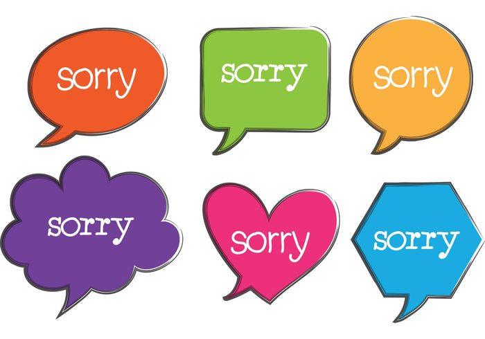 Written word baloon word symbol sorry speech bubble sorry note sorry label sorry handwritten Sorry sign shape Say said regret post note message memo i'm sorry heart handwritten Handwriting greeting forgive different shape communication colorful apology apologize announcement