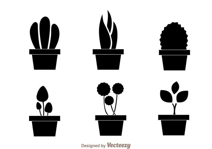 summer spring silhouette potted plant pot planters planter silhouette planter plant Houseplant grow garden flower cactus black