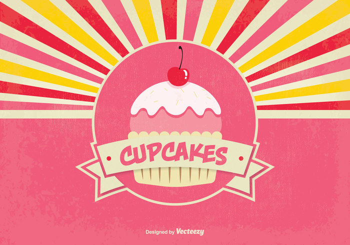 Nice Retro Style Cupcake background explanations