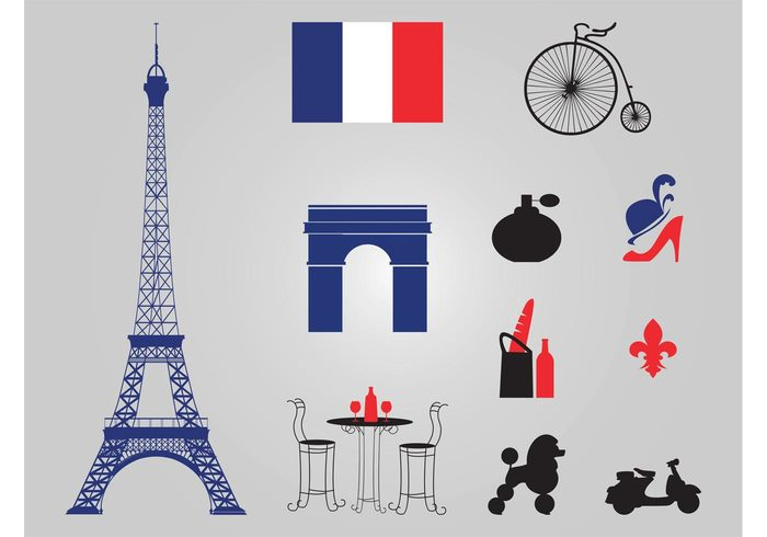 wine vespa travel tourism table poodle perfume france food fashion Eiffel Tower city chairs capital bike art architecture