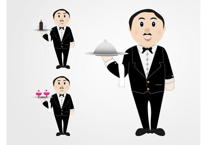 wine Waiters Trays sundae Smile Servitors serve restaurant plates lid food desserts characters cartoon bottle