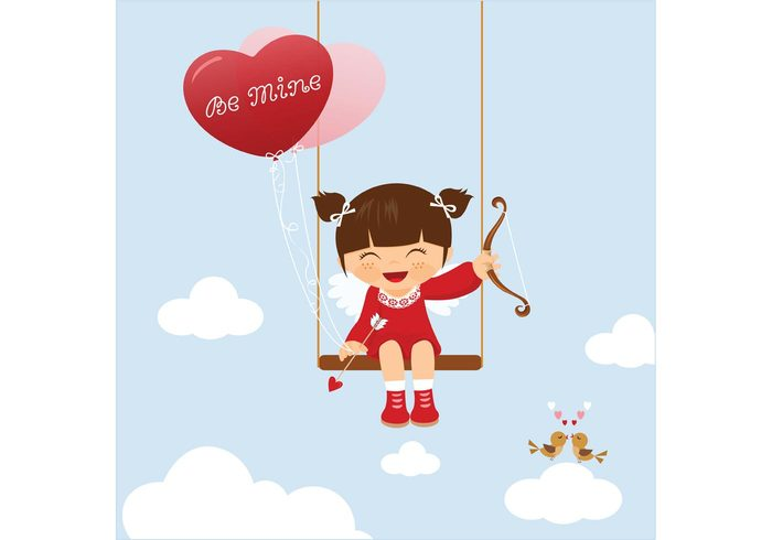young wing white vector valentine sweet Smile sky romantic romance red love little kissing kiss kids swinging kid illustration Heaven hearts heart happy greeting girl fun fly dress cute clouds clipart child cheerful character celebration cartoon birds bird beautiful balloons background announcement angel