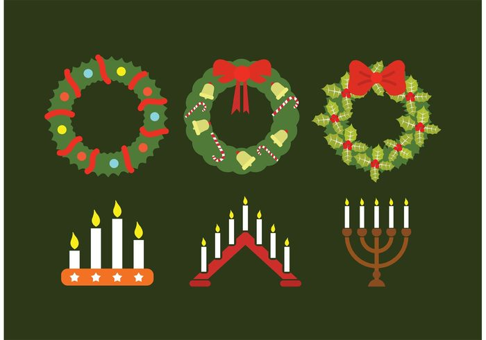 wreath winter vector traditional Tradition set seasonal season ribbon religious religion ornament isolated holy holiday green four flat design decoration decorate December christmas christian ceremony celebration Candlestick candlelight candle bow background advent wreath advent