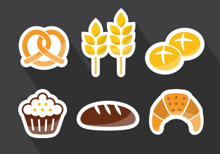 wheat Twist Tasty snack shadow pastry nutrition muffin meal grey background grain fresh food dinner design delicious croissant collection cake breakfast bread bakery bagels bagel
