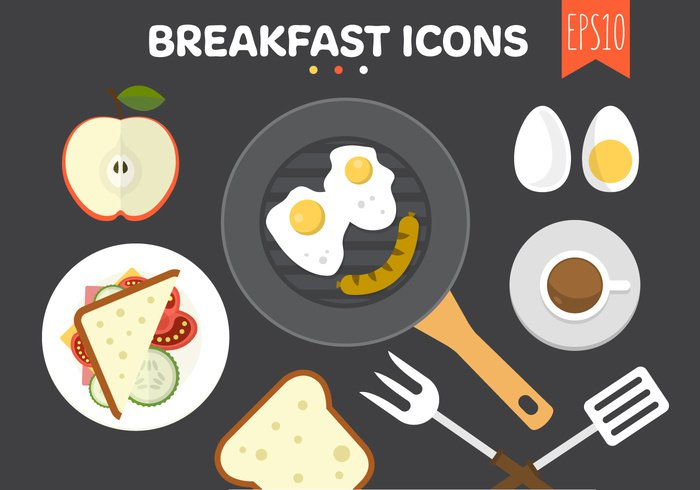 view top tomato toast table set sausage sandwich restaurant plate orange morning meal illustration icon Healthy Fried fresh food flat family picnic egg cup coffee breakfast bread background