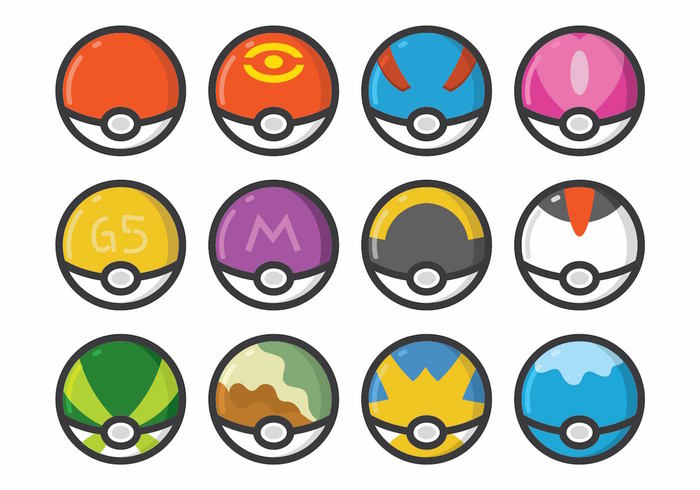technology team sport sign set round popular Pokemon player play pattern modern logo kids icon graphic globe gameball game EPS element decoration circle Catch cartoon bubble beautiful ball background application
