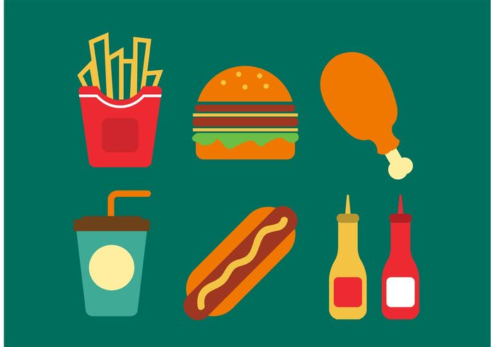 vector Unhealthy Tasty symbol soda snack set sausage sauce retro restaurant menu meat meal junk illustration icon hot hamburger graphic fries and sauce fries Fried French food flat fast food fast eat drink dog dinner design delicious dast food vectors cola coffee cheese burger breakfast bread beverage background