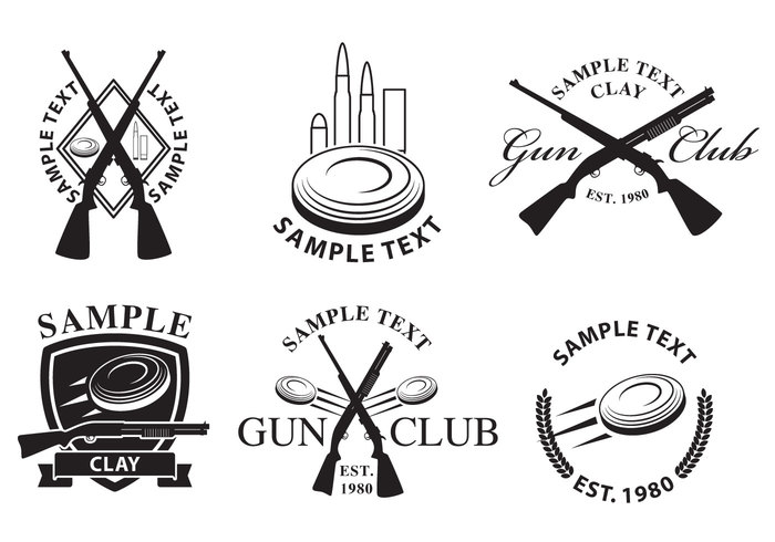 weapon vintage Trigger target symbol stamp sportsman sporting sport silhouette shot shooting shell round rifle revolver range pistol pigeon outfit old object monochrome metal label handgun gun Firearms equipment danger crossed guns crossed gun crossed crime club clay pigeon clay bullet black barrel badge Ammunition