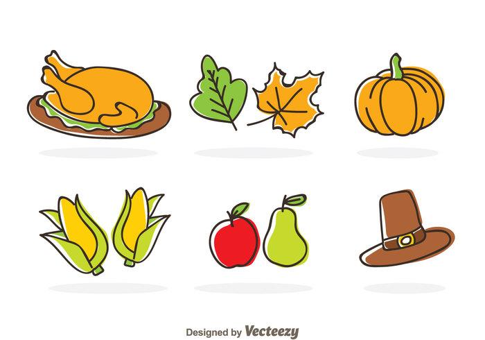 turkey thanksgiving season pear leaf holiday hat harvest fruit food festival ear of corn corn chicken cartoon autumn apple