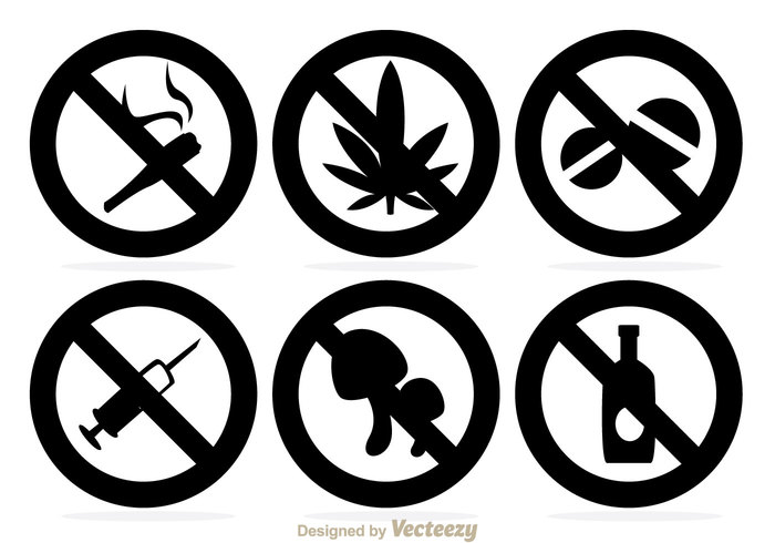 smoke pill no drugs no muahroom Marijuana injection health Drunk drug death dead danger circle cigarette black alcohol