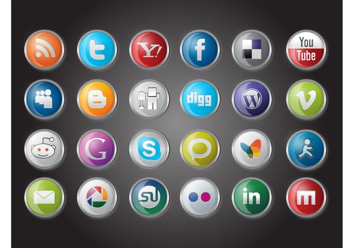 youtube twitter social network social media Skype site RSS internet flickr Facebook communication Blogspot Blogger