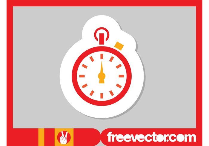 watch timepiece time stylized stopwatch sticker sport icon badge