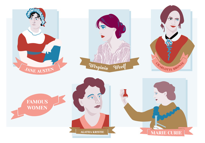 women woman wirginia woolf vintage retro old movie marie curie jane austen hollywood handdrawn hand film female famous women famous drawn colorful color charlotte bronte characters character artist art agatha cristie actor