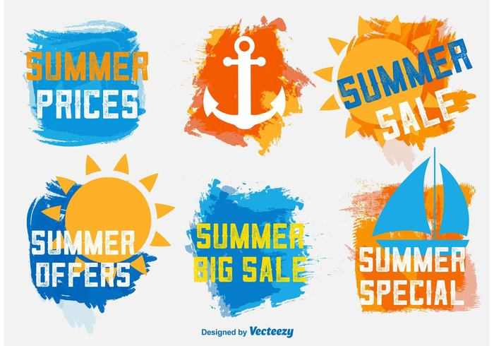watercolor water texture tag summer store sticker stamp splash special sign shopping season sale retail promotion price paint offer new nautical label nautical market label isolated drawn discount commerce color brush bright banner badge background art anchor abstract