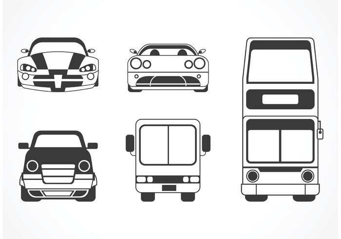 wheels vehicles vector vans Tyre trip transportation transport tire sports car sport speed silhouette set illustration gages driving counter collection cars car silhouette front car front view car front isolated background Automobiles
