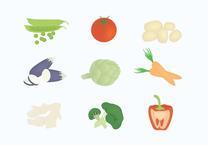 veggies vegetables vector begetables vector tomatoes red pepper raw potatoes Peas illustration ginger fresh food eggplant carrot brocoli background